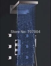 Generalizada del cambio del color termostático Cascada LED ducha de lluvia al por mayor y al por menor de lujo del grifo y de masaje Jets y ducha de mano(China (Mainland))