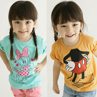 Kids T-shirt short-sleeved t-shirt for girls Minnie cartoon baby children's clothes free shipping
