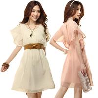 Free Shipping  Summer 2014 foreign trade large size waist Slim round neck lace chiffon shirt dress