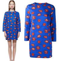 2014 Summer New European And American Street Fashion Temptation Nine Points Sleeve Red Lips Print  Dress LJZ7