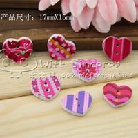 Heart handmade Charm Diy Needs friend Gift Home decor fairy wooden button bulk wooden button mixed for crafts 100pcs/lot