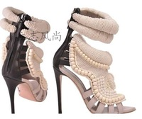 Free shipping fashion lady Autumn new arrival 2013 handmade pearl beaded high-heeled shoes belt women's shoes