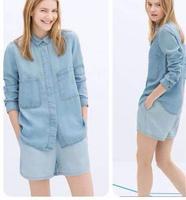 The new autumn and winter 2014 fashion classic retro big pocket handsome ladies temperament casual denim jacket denim shirt