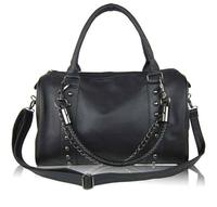 2014 New Fashion women bag rivet chain vintage messenger bag women's day clutch leather handbags punk Totes 36289