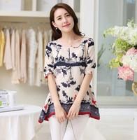 2014 summer Korean new fashion plus size women sheer tops loose short sleeve print chiffon shirt chiffon female shirts blusas