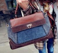 High Quality Brand New Fashion Women Retro Jeans Handbag Vintage Shoulder Messenger Bag Denim Leather Patchwork Tote 36291