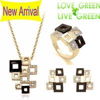 2014 Free Shipping fashion brand wedding 18KGP austrian Crystal rhinestones Pendant  Necklace  Earrings rings Jewelry sets 80140