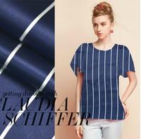Stripe silk crepe satin plain fabric 100%pure silk satin cloth navy 16momme one meter 140cm wide