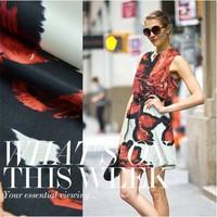 silk crepe satin plain fabric 100%pure silk big flower print dress DIY cloth 17momme