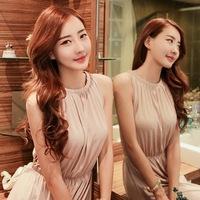 Hot 2014 Summer New Bohemian Women Long Dress Sleeveless Off the Shoulder Women's Exquisite Solid Dresses Free Shipping