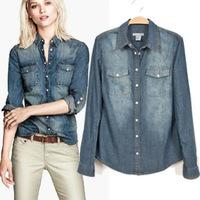 2014 new autumn and winter fashion wild European and American vintage wash denim shirt jacket casual shirt female