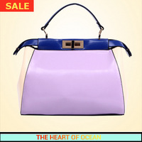 Korean Handbag High Quality PU Leather Handbag Candy Color Fashion Women Shoulder Bag Patchwork Bag B007