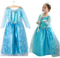 2014 Hot Girls Dresses Child Costumes Frozen Queen Elsa Fancy Summer Dress Kids Long-Sleeve Cosplay Inspired Skirt 3-8T
