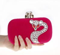 Punk Women's Cartoon Fox Diamond Evening Bag Corduroy Clutch Handbag New Wedding Day Clutches Shoulder Bags 6 Color 0618