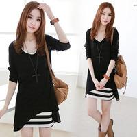 Free Shipping  Korean Women 2014 Summer Slim foreign trade was thin piece striped vest big yards chiffon shirt dress
