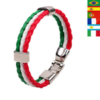 2014 World Cup Brazil Fashion Jewelry National Flags Bracelet Unisex Braided Wristband Leather Bracelets Bangles Promotion