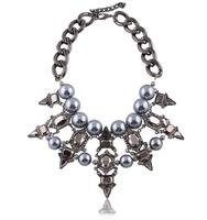 New 2014 z brand women necklace fashion pendant chunky choker bib pearl chain necklaces luxury statement jewelry women wholesale