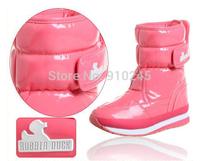 2014 New Fashion women's rubber duck winter Warm waterproof snow boots Single button Combat boots plus size 35-40