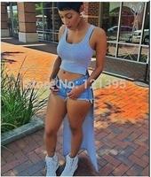 Summer dress 2014 Women High split maxi dress hollow out Tank casual bandage dress Crop top