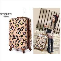 "24"" leopard print trolley suitcase luggage spinner wheels Pull Rod trunk Women traveller case boarding bag customs lock"