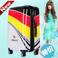 "24"" Colorful trolley suitcase luggage Women traveller customs lock case scrawl Pull Rod trunk spinner wheels boarding bag"