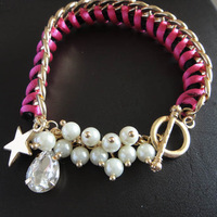Free Shipping SD140 Fashion accessories pearl handmade knitted bracelet