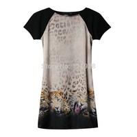 2014 New Arrival Women Short Sleeve Casual Dress Lady Leopard Heads Printed Pattern Loose Dress Winter /Summer Mini Dress