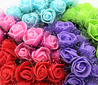 PE foam artificial rose flower with Organza / Free shipping  144pcs/lot