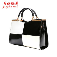 2014 women's handbag black and white color block japanned leather handbag shoulder bag cross-body fashion trend of the women's