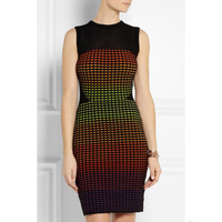 Fall 2014 Top Quality Charming Plaid Fluorescent  Stretch Knitted Dress 140625LJ01