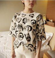 Summer plus size cartoon comic headcounts long design loose the trend of Women doodle T-shirt short-sleeve cotton