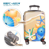 """24"""" inch Sea Starfish trolley suitcase luggage Cartoon Women Girl ABS+PC Pull Rod trunk traveller case for Women Girl"""