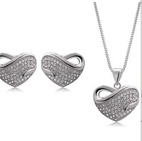 Fashion 18K white gold plated austria crystal women With drilling process pendant necklace/earrings wedding Jewelry Sets