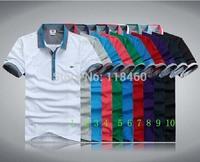 2014 New men 10 color summer crocodile T-Shirts Men100% Cotton casual shirt Fashion T-Shirts Short sleeved T-Shirts