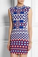 Fall 2014 Charming Colorful Plaid Stretch Knitted Pencil Dress 140625LJ02