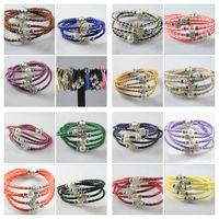 10pcs SHAMBALLA Leather Wristband Magnetic Buckle Rhinestone Bracelet 20cm