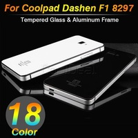 22 Color,2014 Newest Toughened Glass Back Cover And Aluminum Frame For Coolpad Dashen F1 8297 Luxury Mobile Phone Battery Cover