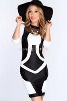 2014 European style New Fashion Women Party Bandage Dress Black White Yellow Patchwork Vintage Bodycon Pencil party Clubwear