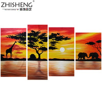 handpainted  abstract oil paintings on canvas wall art African scenery sunset pictures for living room home decoration
