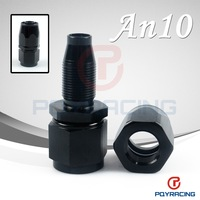 Black 10 AN AN-10 Straight Aluminum Swivel Hose End Fitting Adapter Oil Fuel Line