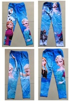 2014 New Frozen Elsa Anna Girl Girls Children Legging Frozen Leggings Long Tight Pants Trousers 4 Designs 6pcs/lot Free Shipping