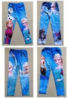2014 New Frozen Elsa Anna Girl Girls Children Legging Frozen Leggings Long Tight Pants Trousers 4 Designs 6pcs/lot Free Shipping