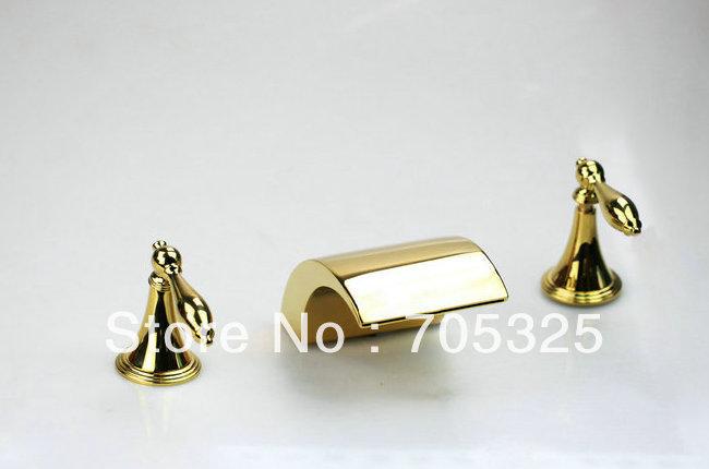 Gold Combined three pcs set Dual Handle Brass Finished Chrome Basin Tap Mixer Deck Bathroom Bathtub Faucet Set AD-1136(China (Mainland))
