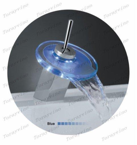 Free shipping new brand LED bathroom faucet basin mixer chrome finishing waterfall tap Z17(China (Mainland))