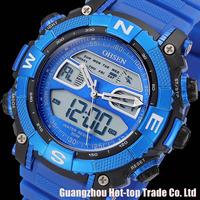New Fashion Analog Digital Dual Time Display Date Alarm Cycling Blue Quartz Silicone Strap Wristwatch Military Men's Sport Watch