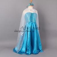 Retailer 2014 Frozen Elsa Dress Custom Made Movie Cosplay Dress Summer Girl Princess Elsa Dress Costume for Children GD40624-1