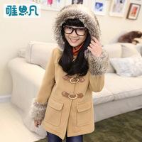 2014 winter and autumn girls clothing  Warm woolen coat  Hoodie  Girls fashion winter coat  Children's Jackets