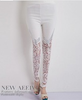 fashion lady pants lace knee plicing hot drillings show thin pants pencil pants leggings and feet pants
