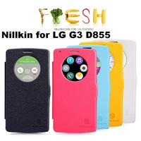Free shipping 10pcs Auto sleep wake up original Nillkin Flip leather case Fresh series for LG G3 D855  +retail box