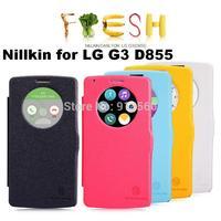 Free shipping 5pcs Auto sleep wake up original Nillkin Flip leather case Fresh series for LG G3 D855  +retail box